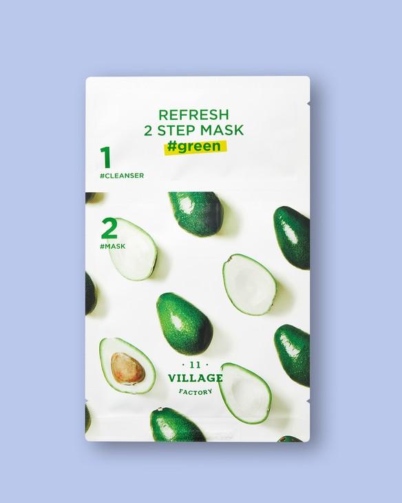 Village 11 Factory Dvojfázová textílna maska na tvár z avokáda Refresh 2 Step Mask Green