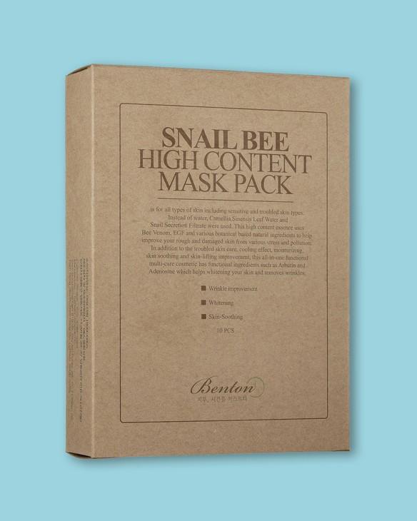 Benton Textílna maska na tvár s veľkou dávkou mucínu a včelího jedu Snail Bee High Content Mask Pack