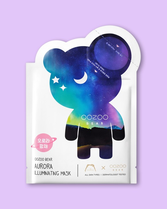 The Oozoo Тextílna maska na tvár Bear Aurora Illuminating Mask