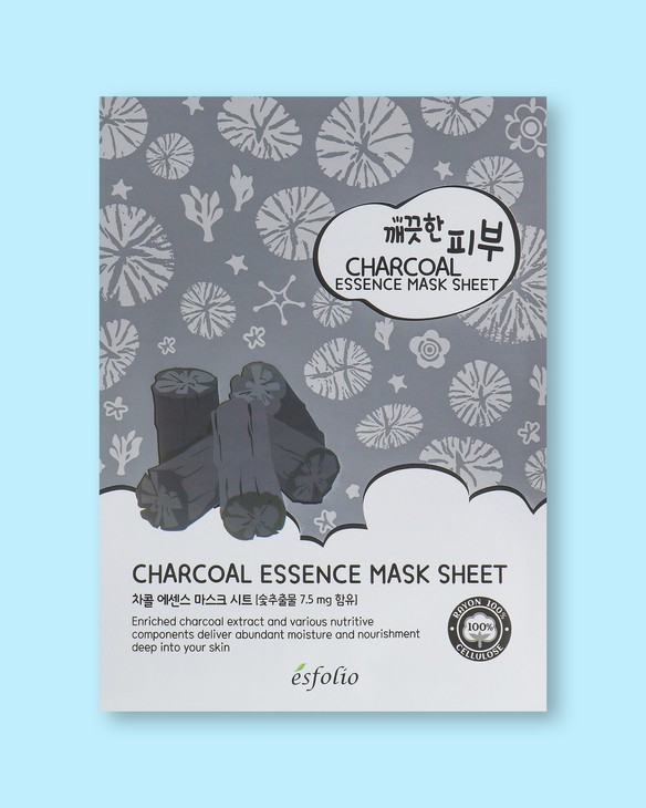 Textílna maska na tvár na báze uhlia Pure Skin Charcoal Essence Mask