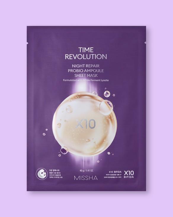 Nočná textílna maska na tvár Time Revolution Night Repair Probio Ampoule Sheet Mask