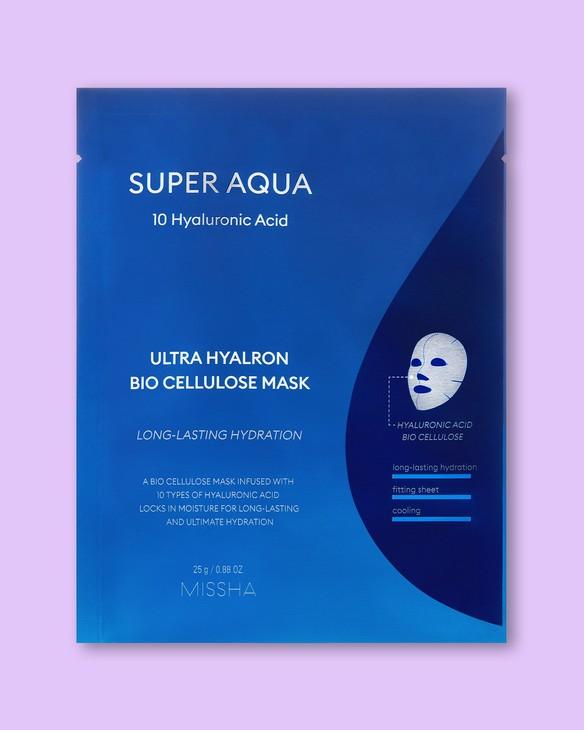 Ultra hydratačná textílna maska na tvár z bio celulózy Super Aqua Ultra Hyalron Bio Cellulose Mask