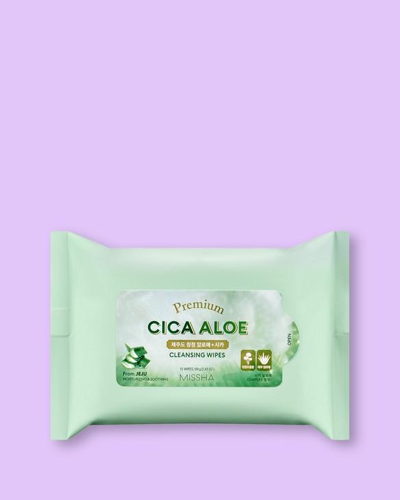 Missha Prémiové odličovacie obrúsky s Aloe Vera Premium Cica Aloe Cleansing Wipes